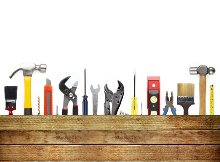 hardware tools: Assorted work tools and wood Stock Photo