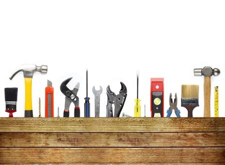 werkzeug: Verschiedene Arbeitsger�te und Holz Lizenzfreie Bilder