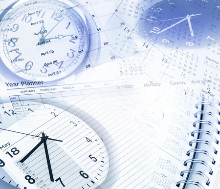 Clock faces, calendar dates and diary photo