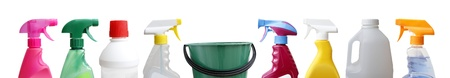 household objects equipment: Cleaning sprayers, bottles and bucket.