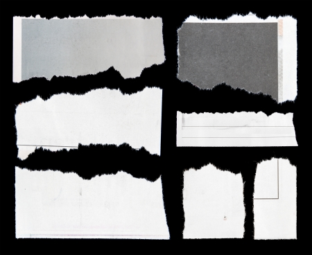 Pieces of torn paper on black. Copy space Stock Photo - 17930012