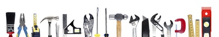 Assortment of tools on plain background Stock Photo - 17993814
