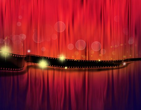 photographic effects: Strip of film on red tone background Stock Photo