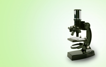Microscope on color background  Copy space photo