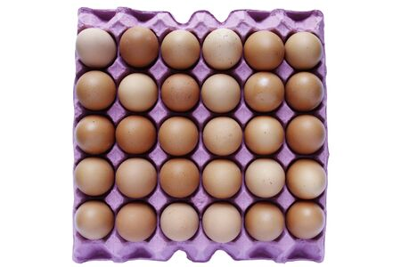 Closeup of eggs in tray on plain background Stock Photo - 18153992