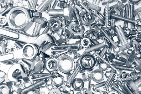 spanners: Spanners on nuts and bolts Stock Photo
