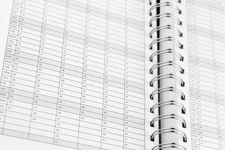 Closeup of dates in diary photo