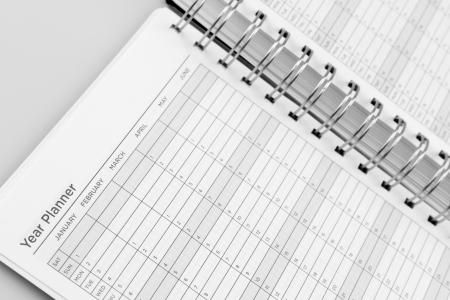agenda year planner: Closeup of dates in diary