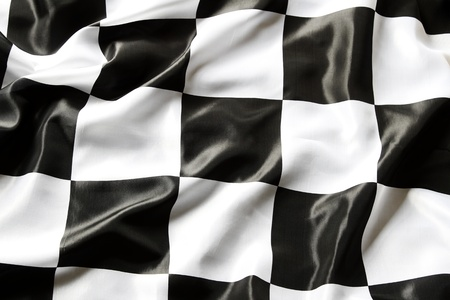 checker: Checkered black and white flag closeup Stock Photo