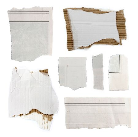 Pieces of torn paper and cardboard on plain background. Copy space Stock Photo - 18436535