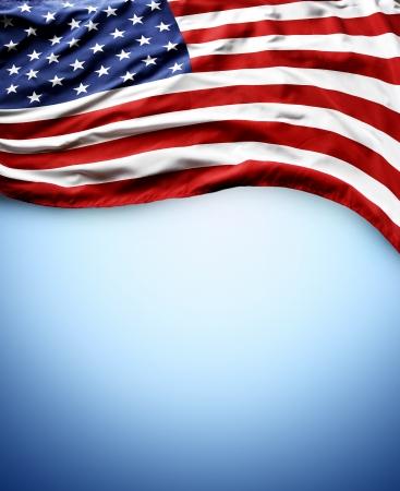 american flags: Primer plano de la bandera americana en el fondo azul
