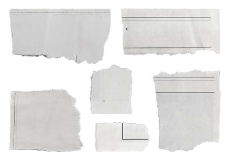 blank newspaper: Pieces of torn paper on plain background  Copy space