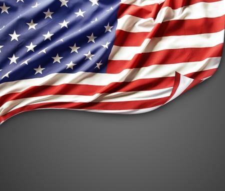 Closeup of American flag on dark background photo