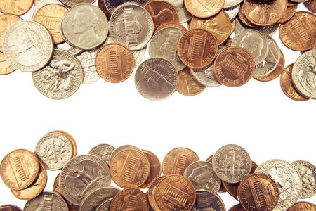 abundance money: Closeup of assorted American coins on plain background  Copy space Stock Photo