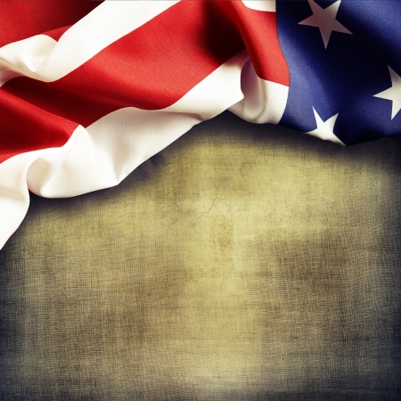 american flag: Closeup of American flag on grunge background