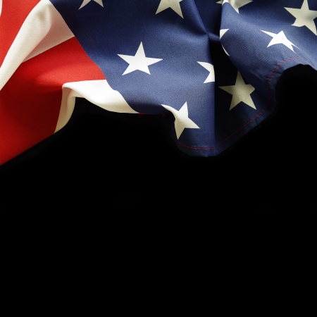 american states: Closeup of American flag on black background