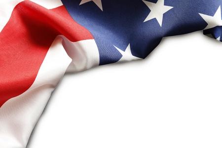 banderas americanas: Primer plano de la bandera estadounidense en el fondo plano
