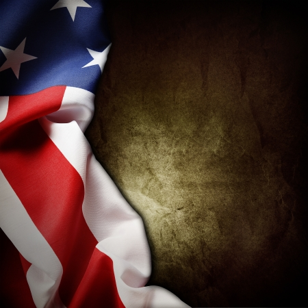 Closeup of American flag on grunge background photo