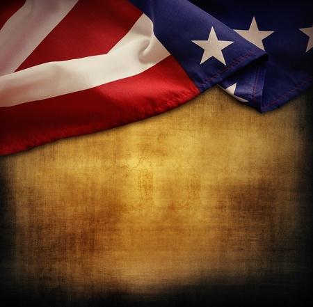 american flags: Primer plano de la bandera estadounidense en el fondo del grunge