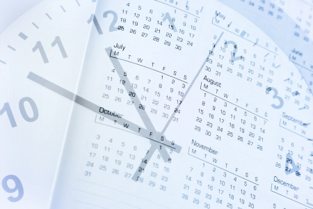 agenda year planner: Clock face and calendar composite Stock Photo