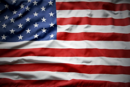 american flag background: Closeup of ruffled American flag