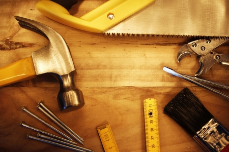 A variety of tools on wood  Advertising space photo