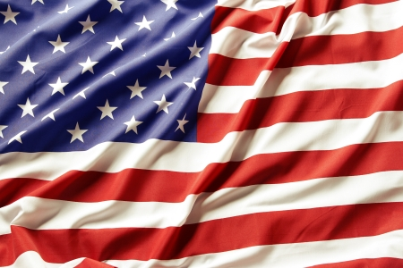 波立たせられた米国旗のクローズ アップ