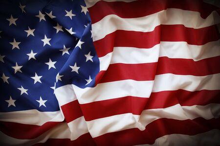 bandera estados unidos: Primer plano de la bandera americana con volantes bordes oscuros