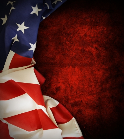 american flag background: Closeup of American flag on grunge background  Copy space Stock Photo