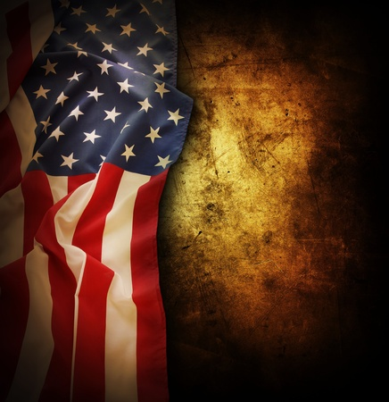 Closeup of American flag on grunge background  Copy space photo