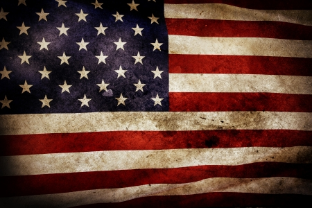 Closeup of grunge American flag photo