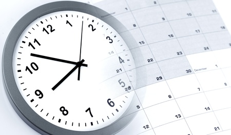 composite: Clock face and calendar composite Stock Photo