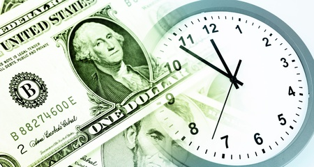 save time: American banknotes  Clock  Time is money concept