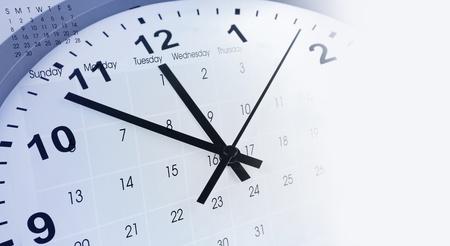 punctual: Clock face and calendar composite Stock Photo