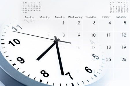 schedule appointment: Clock face and calendar composite Stock Photo