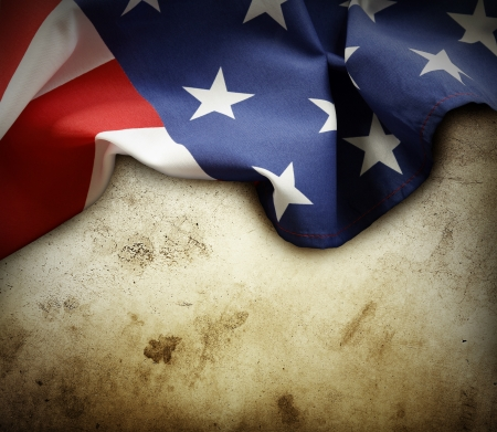 Closeup of American flag on grunge background  Copy space Stock Photo - 21403261
