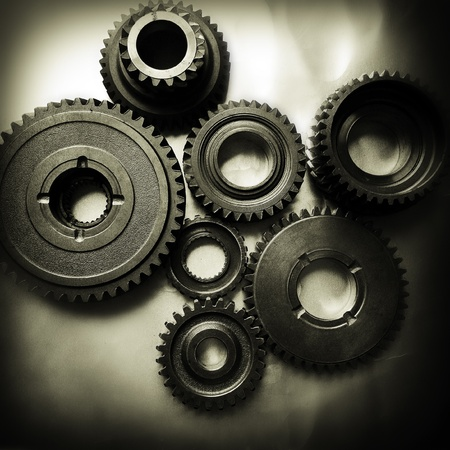 cogwheels: Closeup of metal cog gears
