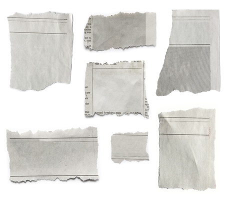 newspaper blank: Pieces of torn paper on plain background  Copy space
