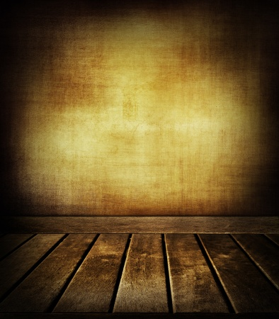 Wooden floorboards and textured wall photo