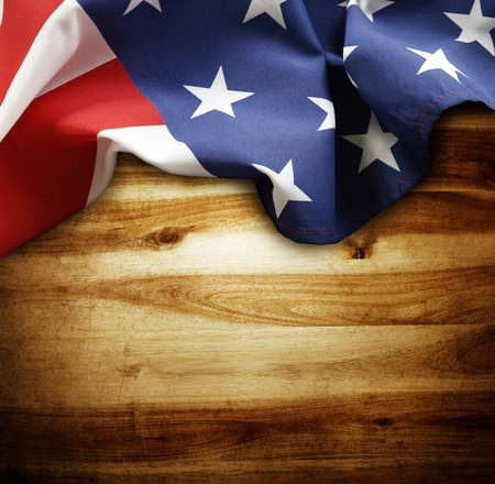 american flag: Closeup of American flag on wood background