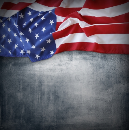 Closeup of American flag on grey background Stock Photo - 21997382