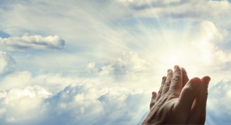 worship hands: Hands together in the sky