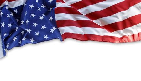 Close-up van de Amerikaanse vlag op effen achtergrond Kopieer ruimte