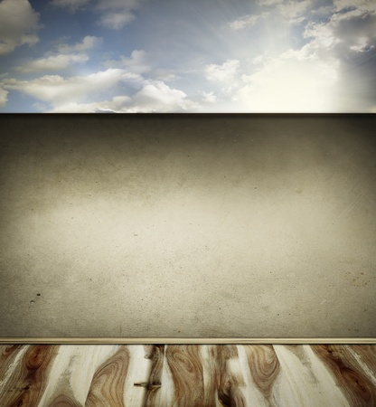 Wooden floorboards, wall and sky  Copy space Stock Photo - 22268884