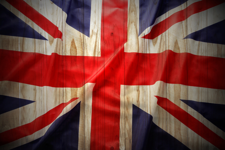 Closeup of Union Jack flag on fence background Stock Photo - 22268888