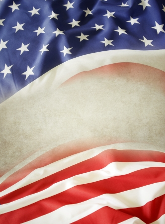 Closeup of American flag. Copy space photo