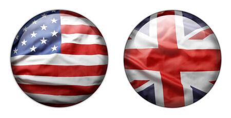 bandiera inglese: Pulsanti di bandiera statunitensi e britanniche isolato su bianco Archivio Fotografico