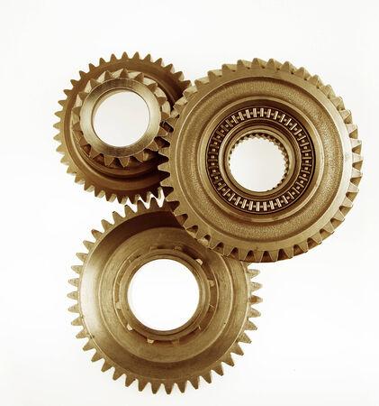 three wheel: Three metal cog gears together Stock Photo