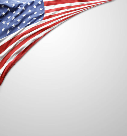 Closeup of American flag. Advertising copy space photo