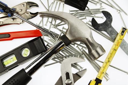 Closeup of assorted work tools photo